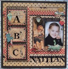 Project Ideas for Graphic 45 - An ABC Primer Collection - 12 x 12 Double Sided Paper - Games and Playtime School Scrapbook Layouts, Kids Scrapbook, Vintage Scrapbook, Christmas Scrapbook, Scrapbook Designs, Scrapbook Sketches, Scrapbooking Layouts, Scrapbook Cards, Digital Scrapbooking
