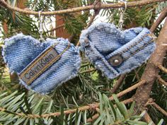 These are earrings, but I'm thinking it would be cute to make Christmas ornaments out of old denim like this, with different shapes.