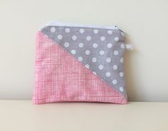 Geometric Patchwork Coin Pouch - Zippered - Small Triangles Pouch - Polka Dots, Pink, Grey, White, Mini Card Holder by…