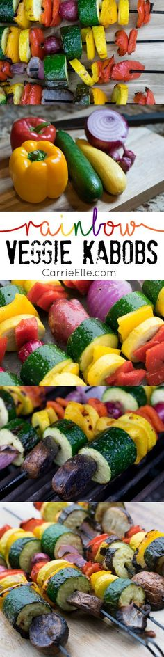 Grilled Rainbow Veggie Kabobs. I love healthy grilling recipes in the Summer!