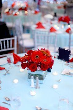Modern Korean Red Aqua Wedding Washington DC Reception Centerpiece 275x412 Red and Tiffany Blue DIY Maryland Wedding: Esther   Julian