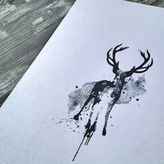 Watercolor deer tattoo design - The Bunette