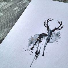 Watercolor deer tattoo design