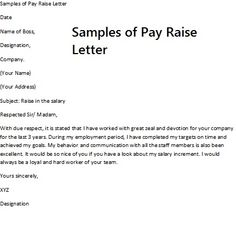 Letter Requesting Salary Increase For Length Of Service Templates