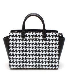 Love this Black & White Houndstooth Selma Leather Tote by MICHAEL Michael Kors on #zulily! #zulilyfinds