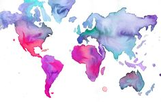 Watercolor World Map Illustration No 7 by JessicaIllustration, $25.00 - Beautiful style for a tattoo
