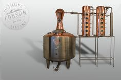500 gallon pot still with whiskey helmet and dual columns for Boot Hill Distillery in Dodge City, Kansas. Copper Pot Still, Copper Pots, Distillery, Brewery, How To Make Gin, Column Still, Homemade Wine, Alcohol Content, Hooch