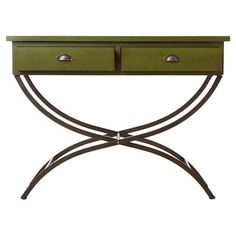 Lend a touch of visual appeal to your entryway or den with this stylish wood console table, showcasing curved metal legs and 2 drawers.