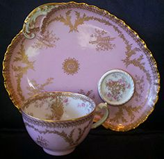 Haviland Limoges tea cup Set Pink Gold Rose Musical Instruments