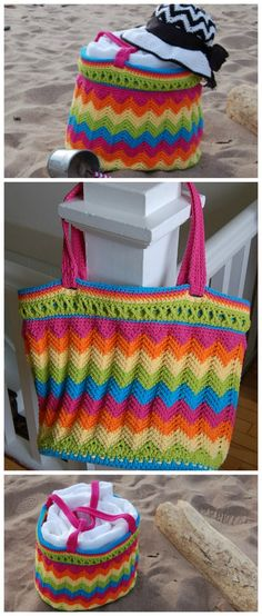 Chevron beach bag crochet pattern. No need for a lining on this bag crochet pattern.