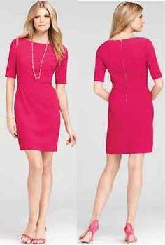 Ann Taylor Crepe half Sleeve Sheath Dress zipper-pink-sz 6P-NWT-$148