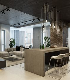 Dark And Sophisticated Interior With Industrial Style (8)