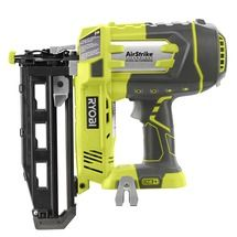 Check out this RYOBI product -   	                  The RYOBI® 18V ONE+™ System introduces the newest addition to the RYOBI AirStrike™ family of tools – the 18V ONE+™ 16ga Cordless Finish Nailer. This 16 gauge finish nailer features AirStrike™ Technology, which eliminates the need for noisy compressors, bulky hoses or expensive gas cartridges. This means faster setup and easier maneuvering on the job site or at home.  Common applications for this tool include installing crown and base…