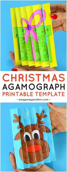 Christmas Agamograph Printable Template for Kids. Fun Christmas Printable Activity for Kids.