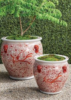 Chic and sophisticated, our handcrafted, handpainted ceramic planter is inspired by artistic works from the Ming Dynasty. Showcasing traditional patterns and motifs in the classic coral and white palette, each wheel-thrown piece is an inspired, one-of-a-kind work of art. Garden Planters, Planter Pots, Garden Oasis, Grand Entrance, Ceramic Planters, Hand Painted Ceramics, Curb Appeal, Accent Decor, Outdoor Living