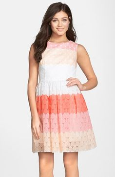 Betsey+Johnson+Stripe+Embroidered+Fit+&+Flare+Dress+available+at+#Nordstrom