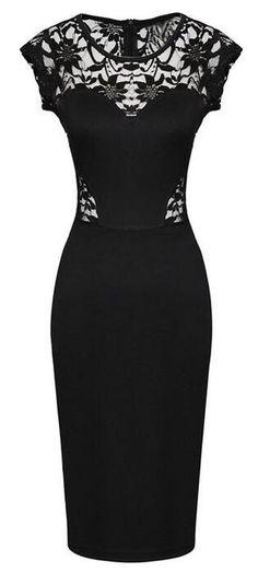 Vestido preto com renda (parte superior)