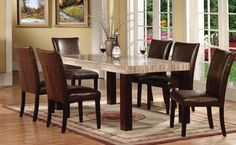 Fraser Faux Marble Top Dining Table 70130