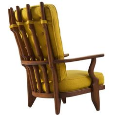 Guillerme & Chambron High Back Chair in Yellow Fabric Upholstery   1stdibs.com