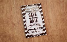 50 Mason Jar Wooden Save the Date Magnet by UniqueEngravedGifts