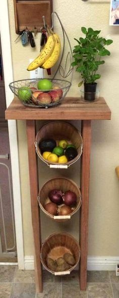 DIY Vintage Ideas For Kitchen: Wooden Fruit Table - Houses interior designs Diy Kitchen, Kitchen Storage, Kitchen Decor, Kitchen Ideas, Messy Kitchen, Vintage Kitchen, Cupboard Storage, Kitchen Pantries, Cupboard Ideas