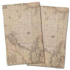 Nautical Chart Old World Hand Towel