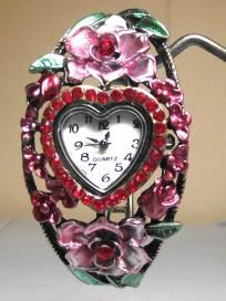 Floral Pink and Red  Bangle Cuff Watch **free ship/ no buyer fees**