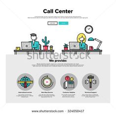 One page web design template with thin line icons of call center support, customer service helpline operator, business solution provider. Flat design graphic hero image concept website elements layout