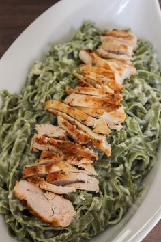 Spinach Fettucine Alfredo with Grilled Chicken | The Chef Next Door #MyFarm2Table
