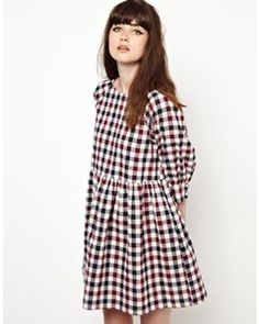 THE WHITEPEPPER Smock Dress in Check