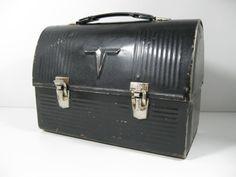 Thermos Lunchbox Domed Black Metal bluecollar lunchbox. $10.00, via Etsy.
