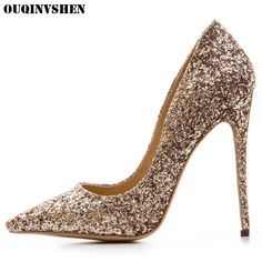 9b9dd8c5ed1c OUQINVSHEN Pointed Toe High Heels Bling Shallow Women Pumps New Thin Heels  Single Shoes Casual Fashion