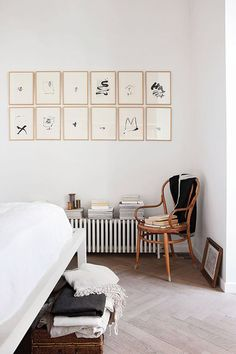 black and white art prints on wall in designer anna valentine's home. / sfgirlbybay