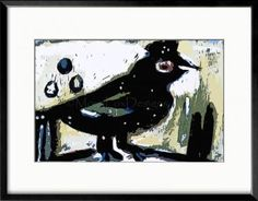 Art – WINTER CROW – Contemporary Abstract Home Decor, Taken from my original painting, this sassy winter crow is now a beautiful gicleé print. Chased around with filters in Photoshop, he's cocky and brazen and all the things you love about crows. For humor, he's the winner. Mat and frame him in an 11 x 14 inch frame, then hang him where he can be in on all the activities.  ... #art ... #crows ... #birds ... #abstract_art  http://www.zibbet.com/MoxyFoxDesigns/artwork?artworkId=1065644