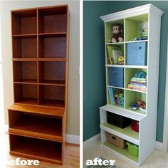 Love the way the insides of the shelves are painted a different colour.