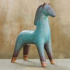 Turquoise Blue and Brown Handcrafted Ceramic Sculpture - Lanna Horse | NOVICA