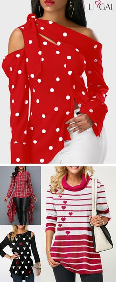 Must have perfect holiday tops for women! Dressing for Valentine's Day, weekends or the office holiday party doesn't have to be difficult. Shop these super-cute outfits at Liligal now! Chic Outfits, Fashion Outfits, Fashion Ideas, Diva Fashion, Fashion Design, T Shirt Flowers, Latest Fashion For Women, Womens Fashion, Holiday Tops