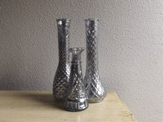 Random Group of 3 Vintage Style Mercury Glass Vases  by LizsShop, $35.00