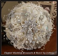hollywood glamour flower bouquet | HOLLYWOOD GLAM Brooch Bouquet - Large, Vintage style, soft Ivory large ...