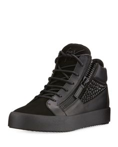 Giuseppe Zanotti Crystal-Detail Black Leather & Suede Mid-Top Sneakers