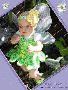 WEEKEND Sale Tinker Bell Newborn Outfit READY by picoloknitting, $50.00