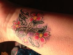 Melanoma cancer ribbon To remind me to fight. My daughters initial on each side surrounded by cherry blossoms