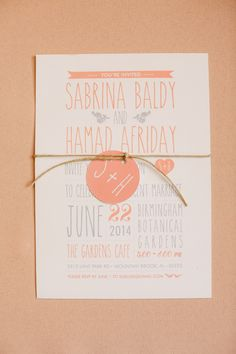 peach and grey invitations, photo by Mary Margaret Smith http://ruffledblog.com/birmingham-botanical-gardens-wedding #weddinginvitations #stationery
