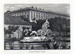 Antique print fountain Cybele Prado Madrid Spain 1872 / grabado