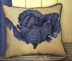 Gorgeous blue cabbage in needlepoint. Designed by Graham Rust. Textile Tapestry, Tapestry Kits, Tapestries, Cross Stitch Fruit, Cross Stitch Flowers, Needlepoint Pillows, Needlepoint Canvases, Cross Stitch Pillow, Handmade Cushions