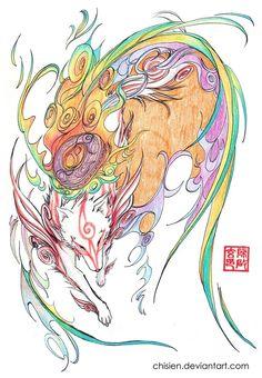 Okami Amaterasu by chisien Nintendo Ds, Overwatch, Tattoo Project, Amaterasu, Anime Nerd, Creature Feature, Japan Art, Video Game Art, Pretty Art
