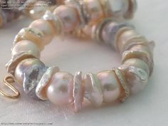 Near Round Metallic Multicolour and Super Lustre Belly Drilled Keshi Petal Freshwater Pearl Necklace