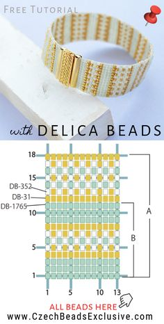 How to Make 'Gold Line Beaded Bracelet' with Miyuki Delica Seed Beads - Easy Tutorial |SAVE it!| www.CzechBeadsExclusive.com #czechbeadsexcluisve #czechbeads