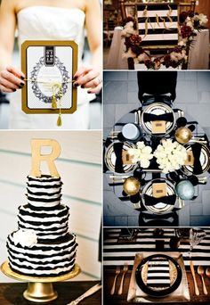 Glamorous Black and Gold Wedding Inspiration - I wouldn't want a striped cake, but the rest of these ideas are great. Gold flatware is pretty cool.