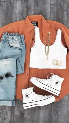 Trendy Summer Outfits, Cute Comfy Outfits, Cute Teen Outfits, Teenage Outfits, Teen Fashion Outfits, Simple Outfits, Pretty Outfits, Ootd Fashion, Fall Outfits